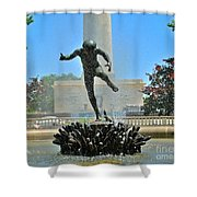Fountain In Spring Shower Curtain
