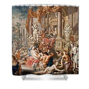 Fountain Scene In Front Of A Palace Shower Curtain