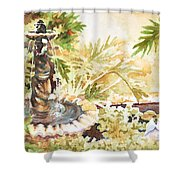 Fountain With Clay Birds Shower Curtain