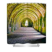Fountains Abbey, Vaulted Chamber Shower Curtain