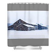 Four Barns In A Snowstorm Shower Curtain