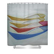 Four Boats And A White One Shower Curtain