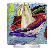 Four Boats Shower Curtain