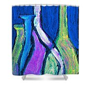 Four Bottle Abstract Shower Curtain