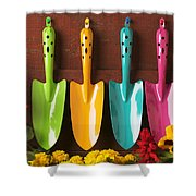Four Colored Trowels  Shower Curtain by Garry Gay