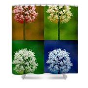 Four Colorful Onion Flower Power Shower Curtain