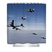 Four F-16s And A Kc-135 Fly Shower Curtain by HIGH-G Productions