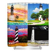 Four Florida Lighthouses Shower Curtain