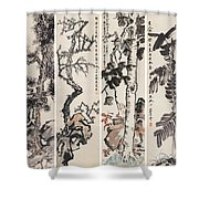 Four Flowers Screen Shower Curtain