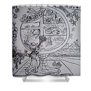Four Food Groups Bw Shower Curtain