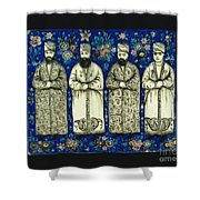 four grandees associated with the court of Nasir al-Din Shah Shower Curtain