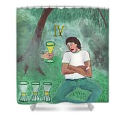 Four Of Cups Illustrated Shower Curtain