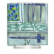 Four Of Swords Illustrated Shower Curtain