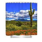 Four Peaks And Poppies, Springtime, Arizona Shower Curtain