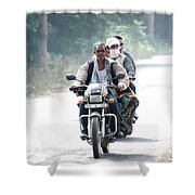 Four People On A Motorbike Shower Curtain