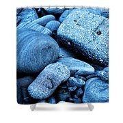 Four Rocks In Blue Shower Curtain