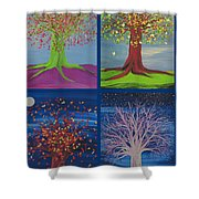 Four Seasons Trees By Jrr Shower Curtain
