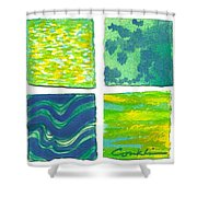 Four Squares Blue, Green, Yellow Shower Curtain