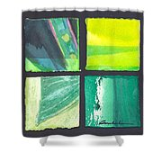Four Squares Green, Yellow Green, Black Shower Curtain