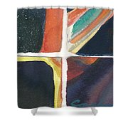 Four Squares Orange Slash Shower Curtain