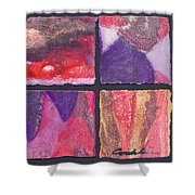 Four Squares Purple, Red, Brown, Lavender Shower Curtain