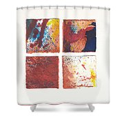 Four Squares Red Flow Shower Curtain