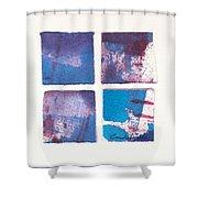 Four Squares Turquoise Flow Shower Curtain