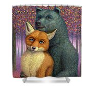 Fox And Bear Couple Shower Curtain