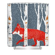 Fox And Birch Trees Shower Curtain