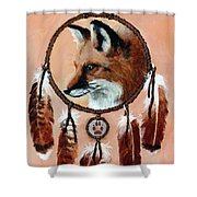 Fox Medicine Wheel Shower Curtain by Brandy Woods