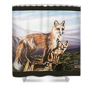 Foxes   Fundamental Foresight Foundation  Shower Curtain