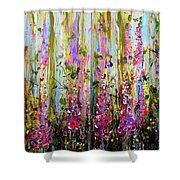 Foxgloves Large Painting Shower Curtain