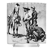 Fr 043 Third Cavalry Trooper Searching A Suspected Revolutionist Fredericremington Sqs Frederick Remington Shower Curtain
