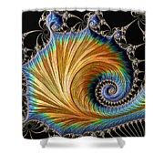 Fractal Art - Blue And Gold Shower Curtain