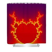 Fractal Burning Heart Shower Curtain