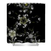 Fractal Floral Pattern Black Shower Curtain