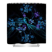 Fractal Forget Me Not Bouquet  Shower Curtain
