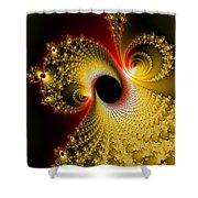 Fractal Spiral Art Yellow Red Metal Effect Shower Curtain