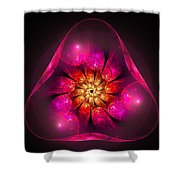 Fractal Triangle Pink Red Yellow Shower Curtain