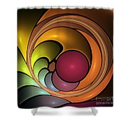 Fractal With Orange, Yellow And Red Shower Curtain