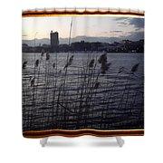 Frame Building Shower Curtain