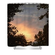 Framed Fire In The Sky Shower Curtain