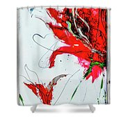 Framed Scribbles And Splatters On Canvas Wrap Shower Curtain