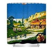France Normandy Vintage Travel Poster Restored Shower Curtain