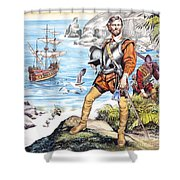 Francis Drake And The Golden Hind Shower Curtain by Ron Embleton