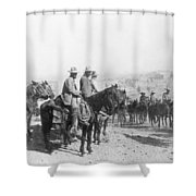 Francisco Pancho Villa (1878-1923). Mexican Revolutionary Leader. Photographed While Reviewing Troops, C1914 Shower Curtain
