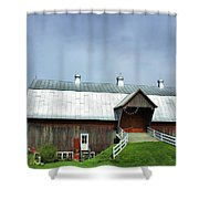 Franklin Barn By The Lake Shower Curtain