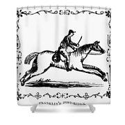 Franklin: Post Rider, 1775 Shower Curtain
