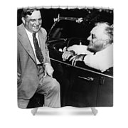 Franklin Roosevelt And Fiorello Laguardia In Hyde Park - 1938 Shower Curtain