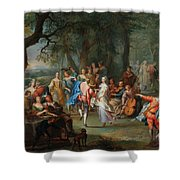 Franz Christoph Janneck Graz 1703-1761 Vienna A Dance In The Palace Gardens, Shower Curtain